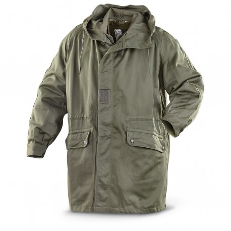 Army Surplus French Hooded Parka Olive Grey Warm Winter Thermal Lined 40-42