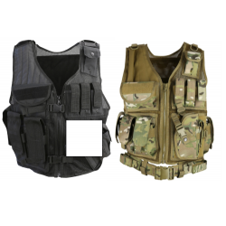KT CROSS DRAW TAC VEST AIRSOFT MILITARY MOLLE BLACK OR BTP (MTP STYLE)