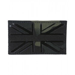 KT Laser Cut Union Jack Patch Military Subdued Tactical Hook & Loop BTP Black