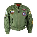 Kids Green Bomber Jacket Flight Jacket Flying Quilted Badges Boys Girls