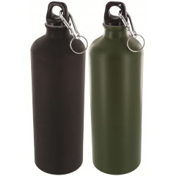 HIGHLANDER BLACK / GREEN ALUMINIUM 1Litre bottle WATER BOTTLE WITH CARABINER