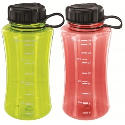 Highlander Polycarbonate Bottle 1Litre Plastic Water Bottle Clear Green/Orange