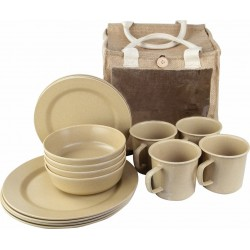 Highlander Eco-Friendly Bamboo Picnic Set Cutlery Crockery Camping Caravan