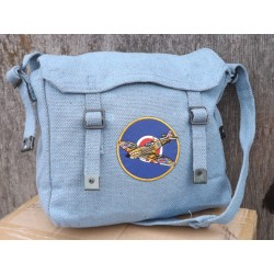 Vintage Style Airforce Blue RAF Bag Webbing Shoulder Bag Patches Spitfire Plane