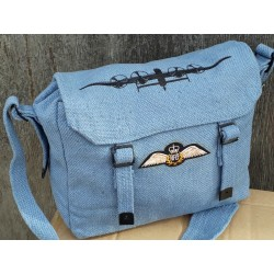 Vintage Style Airforce Blue RAF Webbing Shoulder Bag Patches Lancaster Plane W