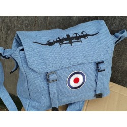 Vintage Style Airforce Blue RAF Webbing Shoulder Bag Patches Lancaster Plane R