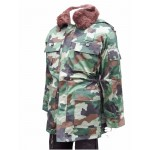 Surplus Serbian Camouflage Winter Parka Fur Collar Lined Warm Thick Camo USED