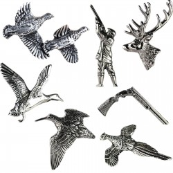 Jack Pyke Pewter Pin Badges Pheasant Partridge Stag Woodcock Duck Shooting Gift