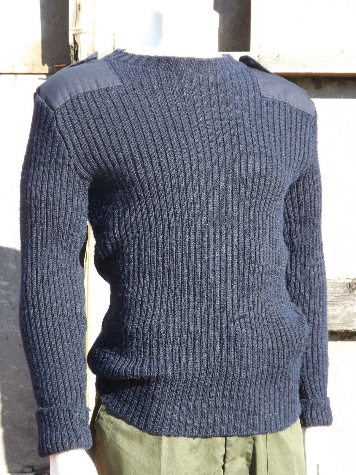 ff69bf4e3 Genuine British Navy Wool Jumper Crew Neck Blue Surplus Woolly ...