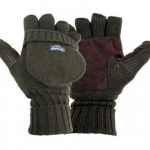 Thinsulate Lined Knitted Foldback Finger Gloves Suede Palm Mitts Thermal Warm
