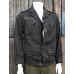 "Genuine Surplus French Army Jacket Overdyed Black Canvas Upcycled 34-36"" (450)"