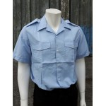 Genuine Surplus French Fleet Air Arm Airforce Short Sleeve Shirt Pale Blue NEW
