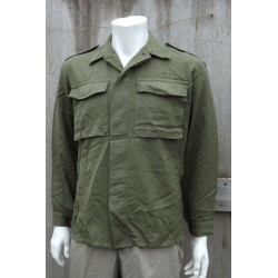 Genuine Surplus Belgian Army Heavyweight Cotton Shirt Olive Military Vintage