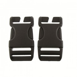 Highlander Quick Release Buckle 25mm Black Plastic Pair No Sew Rucksack