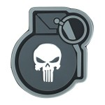 KT Punisher Grenade PVC Rubber Morale Patch tactical hook 3D Army Airsoft