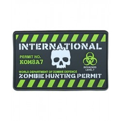 KT Zombie Hunting Permit PVC Rubber Morale Patch tactical hook 3D Army Airsoft