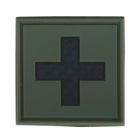 KT First Aid PVC Rubber Morale Patch Olive tactical hook 3D Army Airsoft