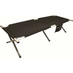 Highlander Aluminium Camp Bed Camping Guest Bed Black Canvas Metal