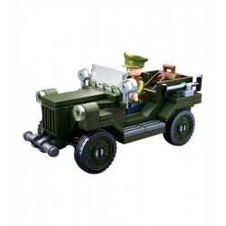 Sluban WWII Allied light Truck/Jeep construction brick Army Childs Toy B0682