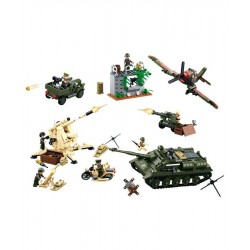 Sluban WWII Battle Army Tank Plane Figures Construction brick set Childs B0697