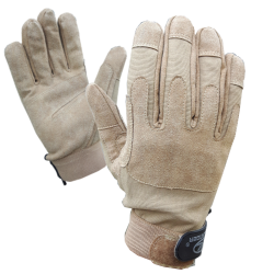 Highlander Mission Lite Military Leather Suede Gloves Sand Beige Lightweight