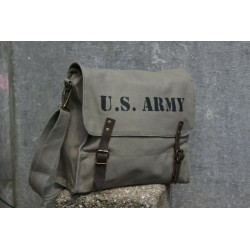 Normandy '44 Vintage Style Canvas Satchel Hand Painted Messenger Bag Olive