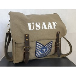 Normandy '44 Vintage Style Canvas Satchel Hand Painted USAAF with rank patch