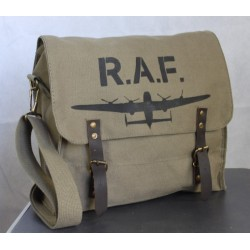 Normandy '44 Vintage Style Canvas Satchel Hand Painted RAF Lancaster Plane