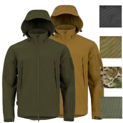 Highlander Tactical Hooded Softshell Jacket Water Resistant Black Olive Tan HC