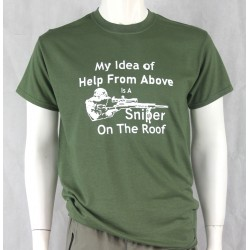 Sniper on the Roof Screenprint T-shirt Gildan Green Cotton Military Humour