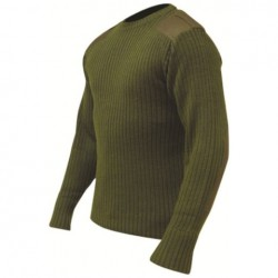 Acrylic Crew Neck Army Commando style Olive Green Pullover Jumper