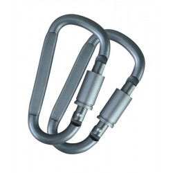 KT Gunmetal Grey Pair Locking Carabinas Camping Hiking Cadets Walking 8mm