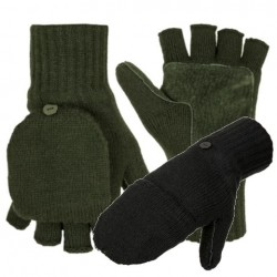 Thinsulate Lined Knitted Foldback Finger Gloves Mitts Thermal Winter Black Green
