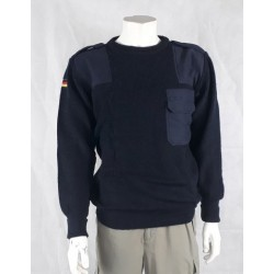 Genuine German Airforce Wool Jumper Crew Neck Blue Surplus 80% Wool military