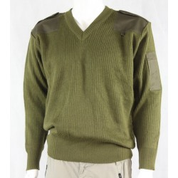 Genuine Surplus Italian Wool Mix Jumper Olive Green V-Neck Rib Medium 2020/173