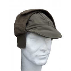 Genuine Surplus German Ex Army Winter Hat Wool Lined Peak Cap Olive/Grey
