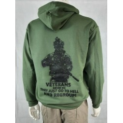 Normandy '44 Exclusive Printed Hoodie Olive Green Veterans Never Die