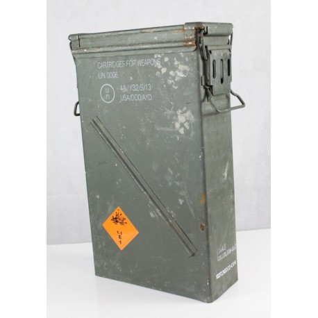 Genuine Surplus NATO 81mm Tall Ammo Box Metal Strong Military Ammunition Crate
