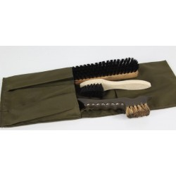 Genuine Surplus Dutch Boot Shoe Cleaning Kit with brushes & Case Olive Green