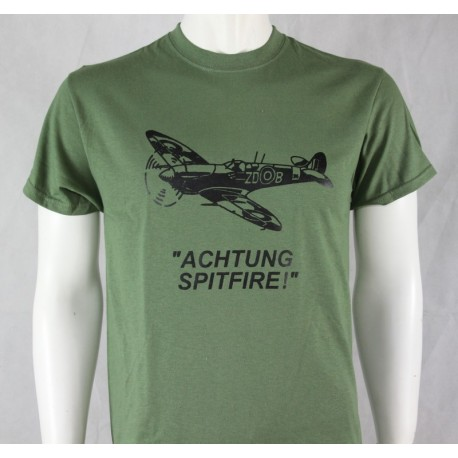 Achtung Spitfire Exclusive Printed T-Shirt RAF Military Forces Tactical Green
