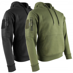 Kombat Tactical Hoodie Black Tactical Military Pockets Cotton Rich Hooded Top