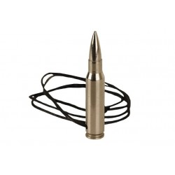 762 Bullet Leather Necklace Silver