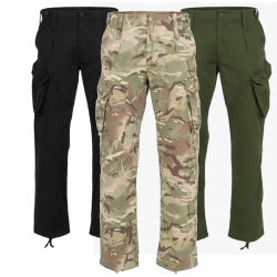 Highlander Midweight Delta Trousers Military Style Black Olive Camo Polycotton