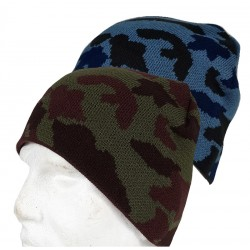Camouflage Beanie Hat Stretch One Size Green or Blue Camo Knitted Acrylic