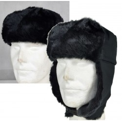 Cossack Hat Winter Black Thermal Faux Fur Trapper Hat Size Small Adult