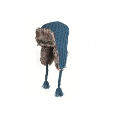 Highlander Knitted Faux Fur Hat Teal