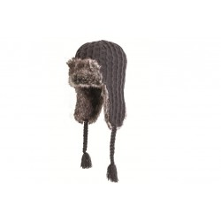 Highlander Knitted Faux Fur Hat Grey