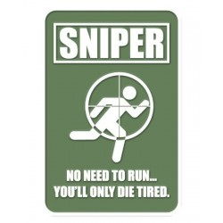 PVC Sniper No Need to Run Tactical Patch Green Velcro Backed