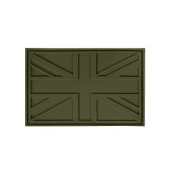 PVC Union Jack Tactical Stealth Patch Olive Velcro Backed