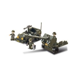 Sluban Army Anti Aircraft Gun and Jeep Military Bricks B5900